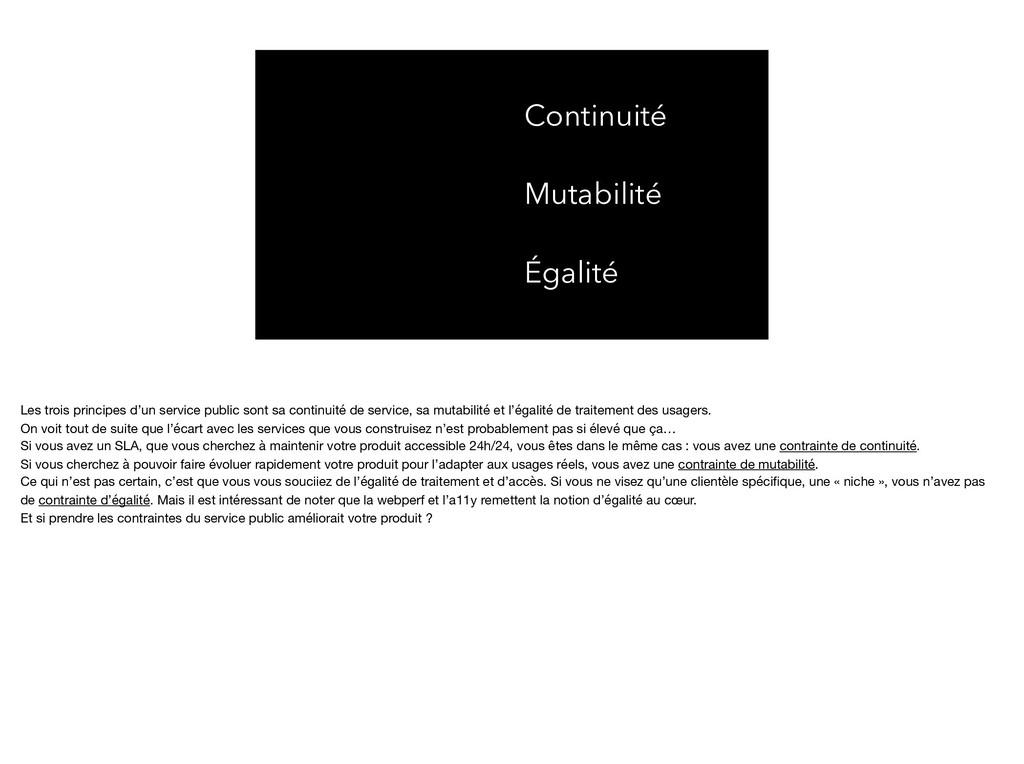Continuité Mutabilité Égalité Les trois princip...