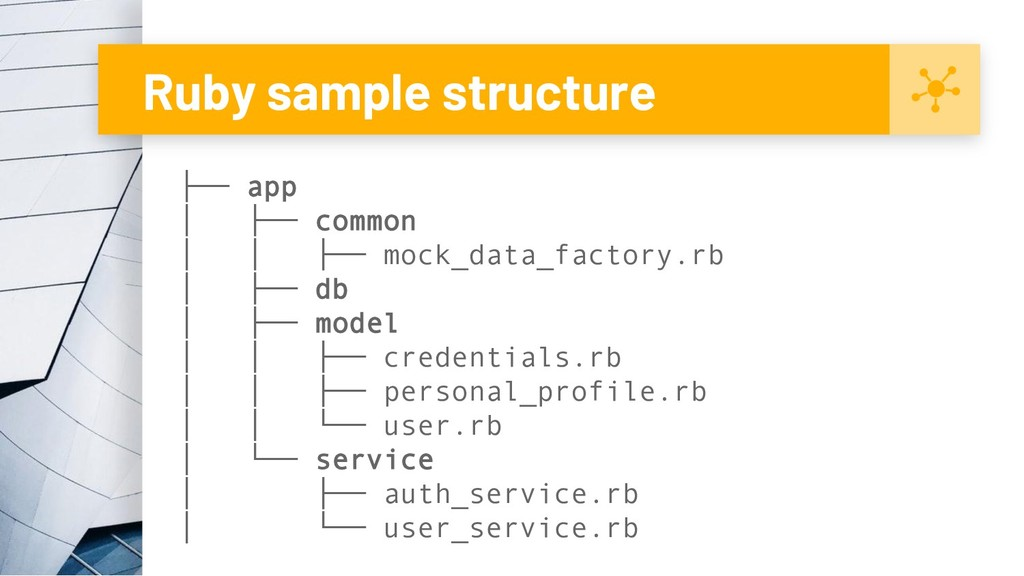 Ruby sample structure ├── app │ ├── common │ │ ...