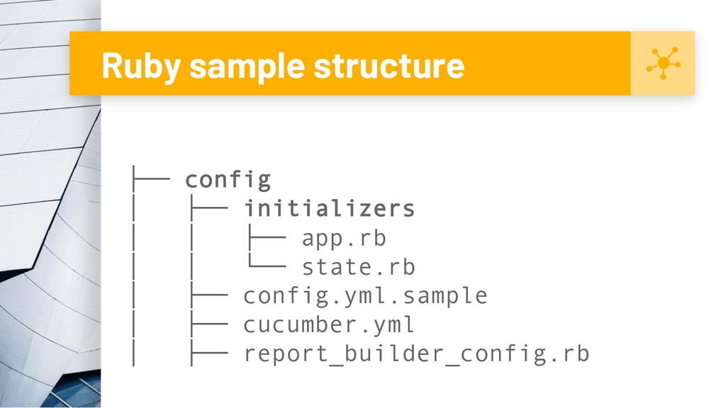 Ruby sample structure ├── config │ ├── initiali...