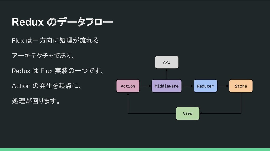 Redux のデータフロー Flux は一方向に処理が流れる アーキテクチャであり、 Redu...