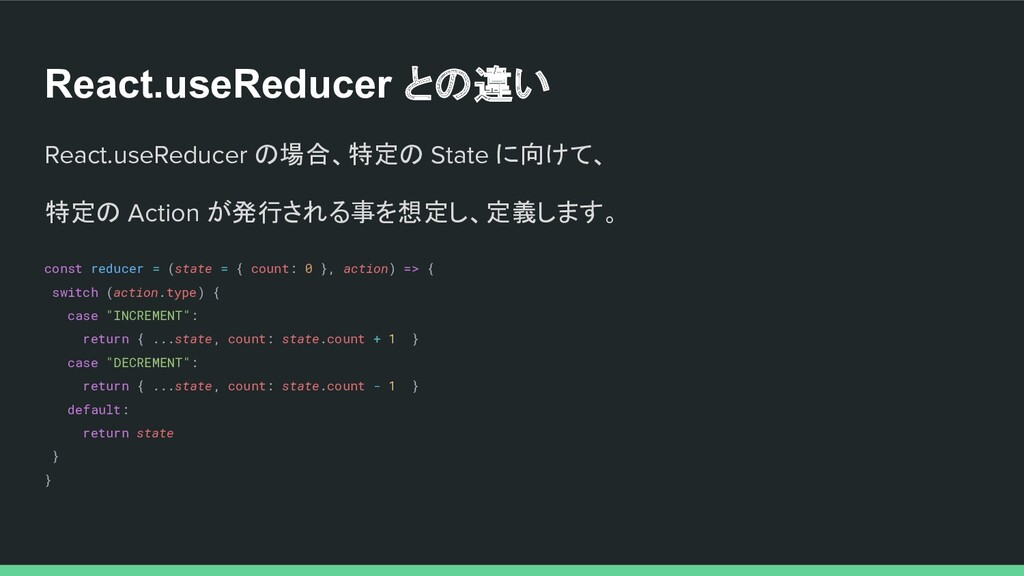 React.useReducer との違い React.useReducer の場合、特定の ...