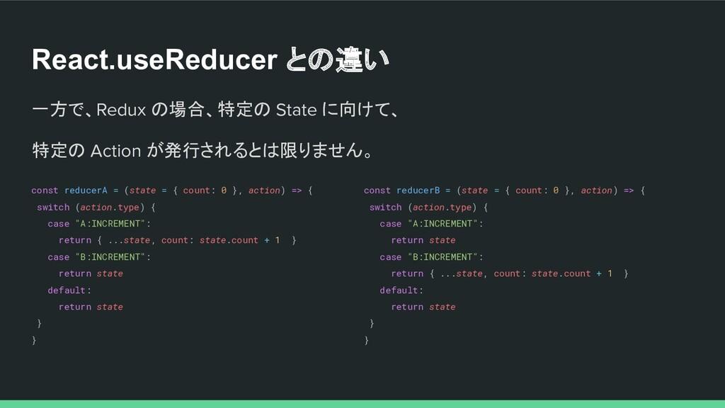 React.useReducer との違い 一方で、Redux の場合、特定の State に...