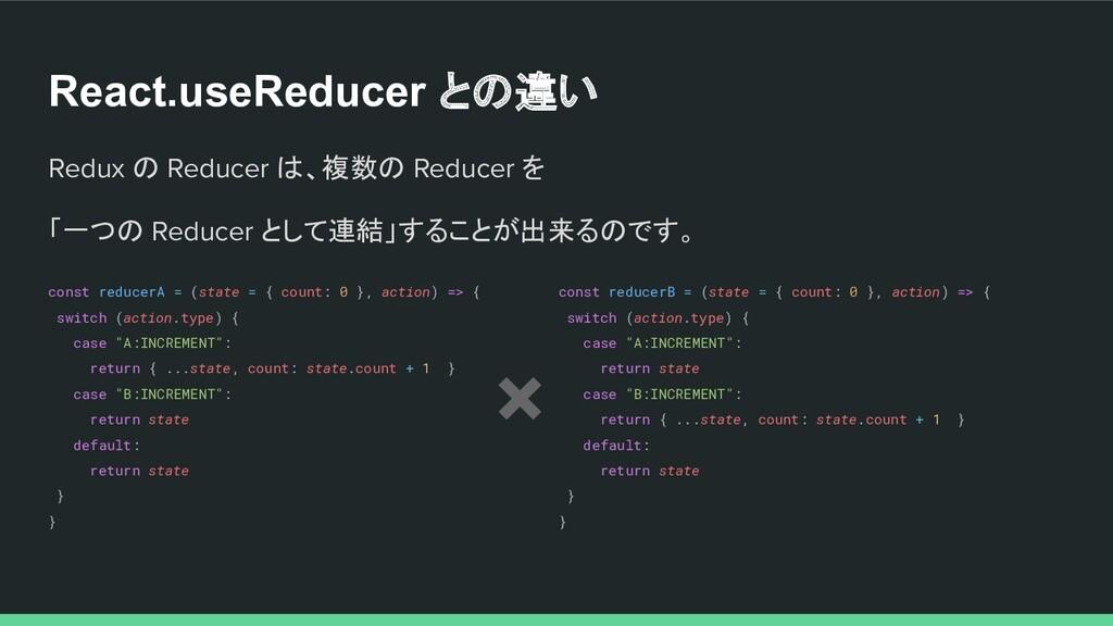 React.useReducer との違い Redux の Reducer は、複数の Red...