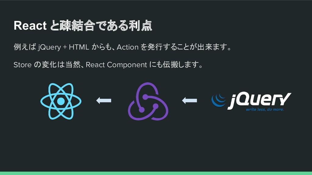 例えば jQuery + HTML からも、Action を発行することが出来ます。 Stor...