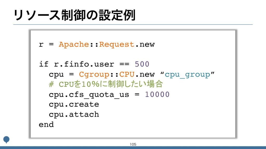 Ϧιʔε੍ޚͷઃఆྫ r = Apache::Request.new if r.finfo.u...