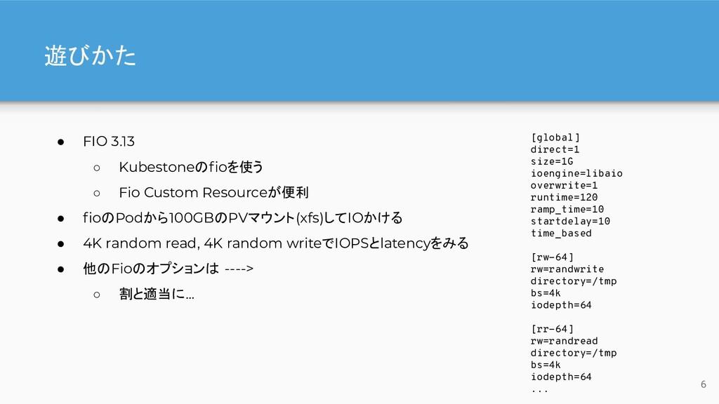 遊びかた ● FIO 3.13 ○ Kubestoneのfioを使う ○ Fio Custom ...
