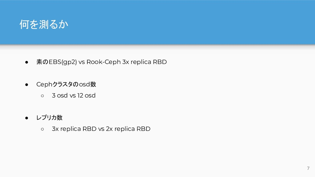 何を測るか ● 素のEBS(gp2) vs Rook-Ceph 3x replica RBD ...