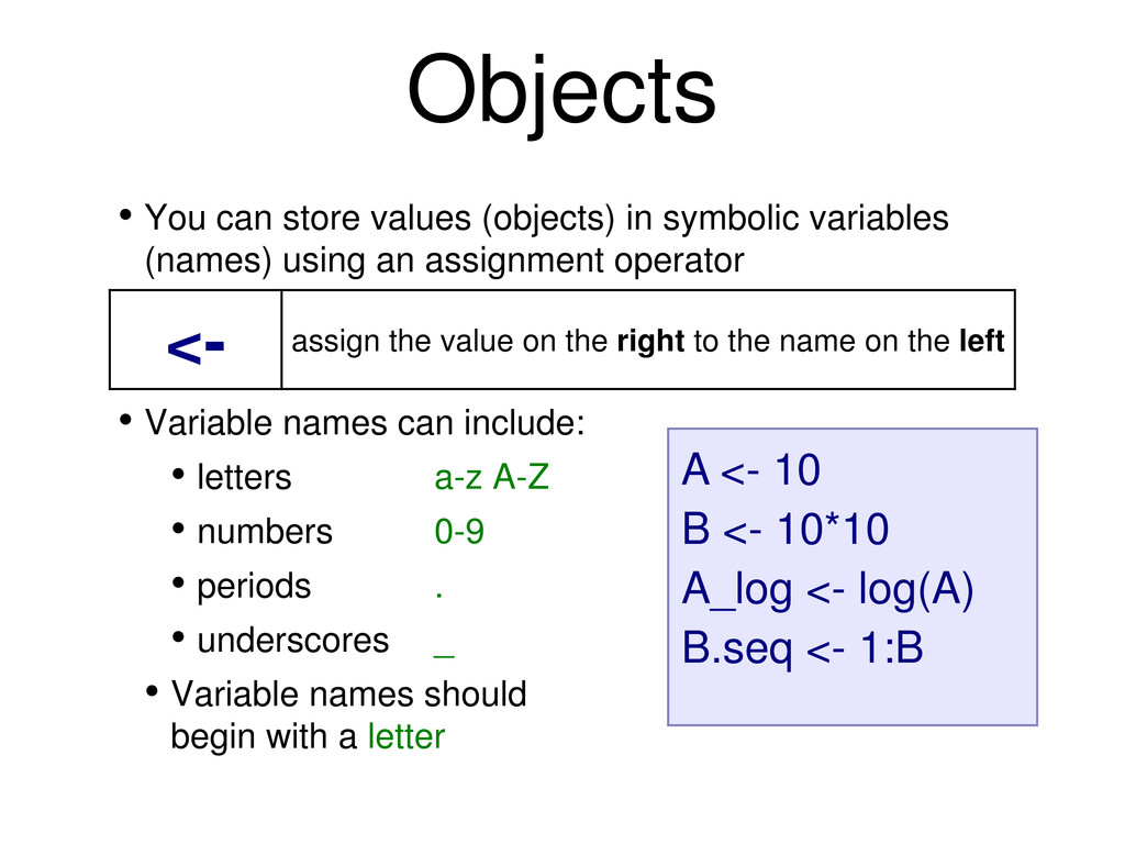 • You can store values (objects) in symbolic va...
