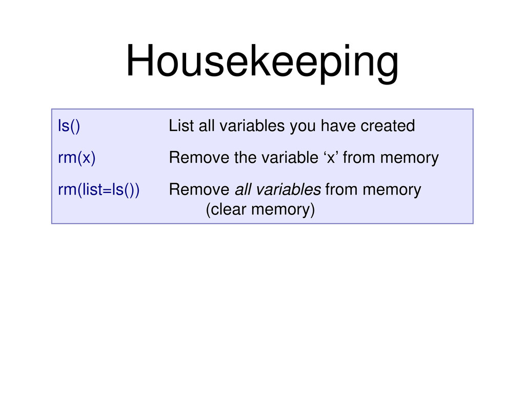 ls() List all variables you have created rm(x) ...