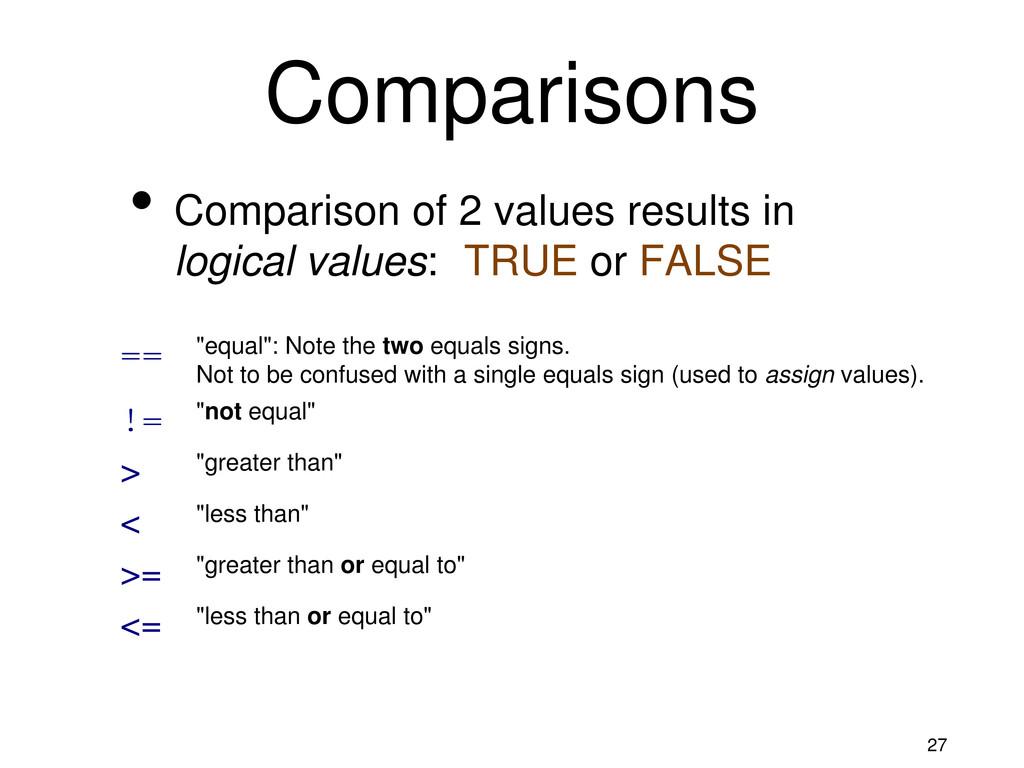 27 Comparisons • Comparison of 2 values results...