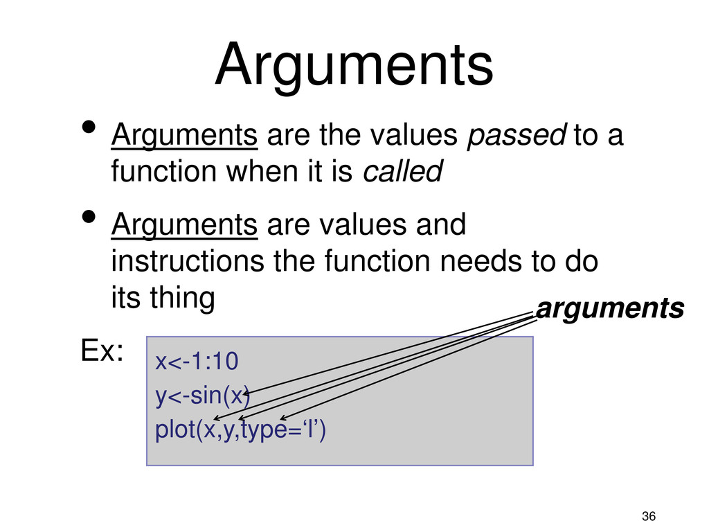 36 • Arguments are the values passed to a funct...