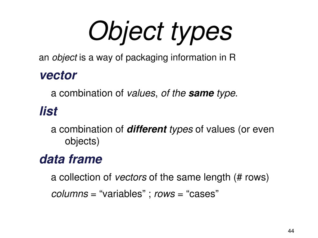 44 Object types an object is a way of packaging...