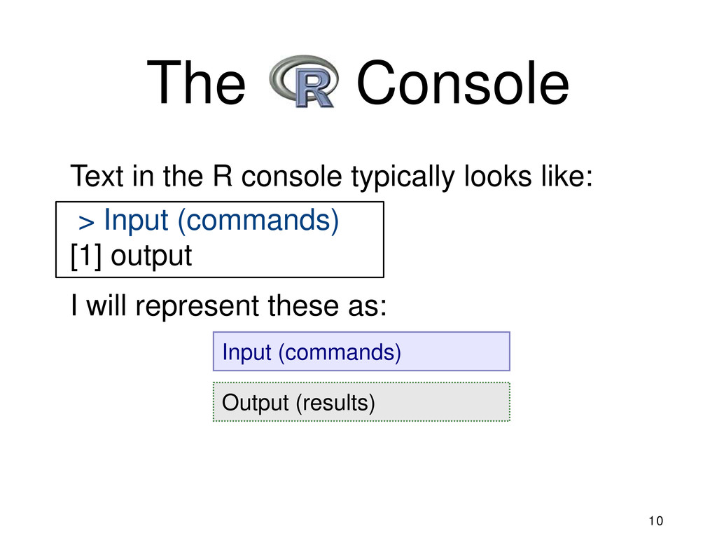 Output (results) Input (commands) The R Console...