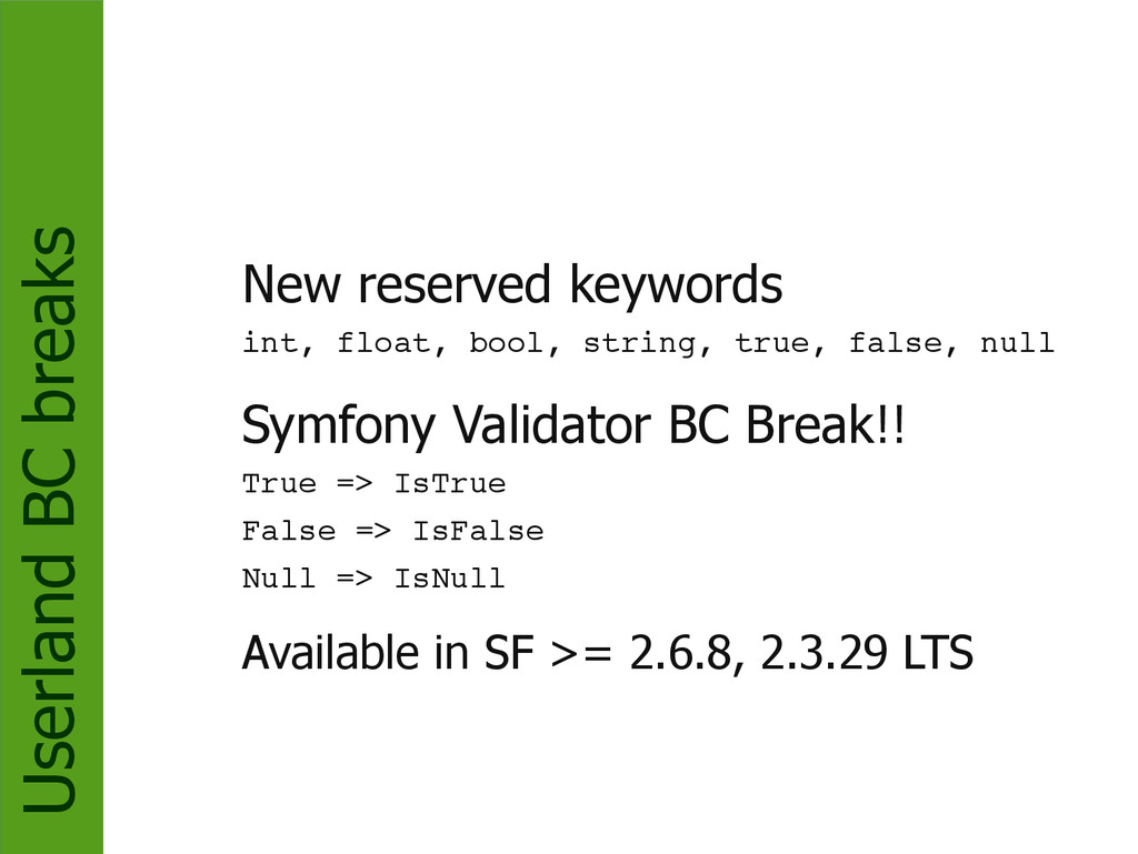 Userland BC breaks New reserved keywords int, f...