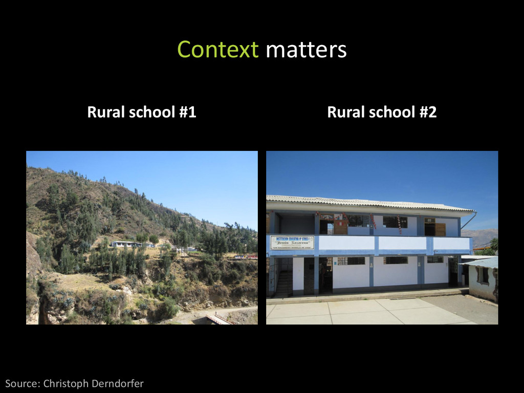 Context matters Rural school #1 Rural school #2...