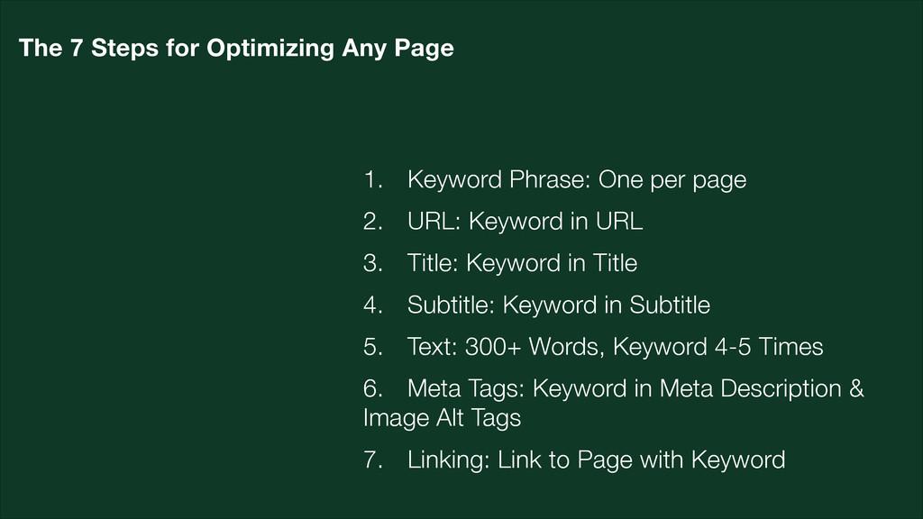 1. Keyword Phrase: One per page 2. URL: Keyword...