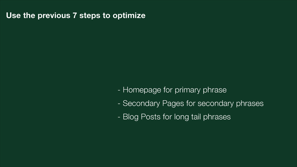 - Homepage for primary phrase - Secondary Pages...