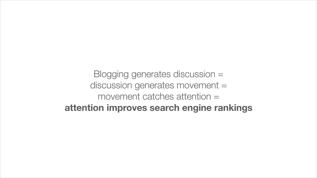 Blogging generates discussion = discussion gene...