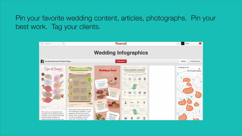 Pin your favorite wedding content, articles, ph...