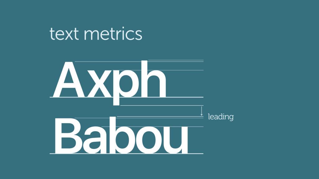 text metrics Ax h Babou p leading