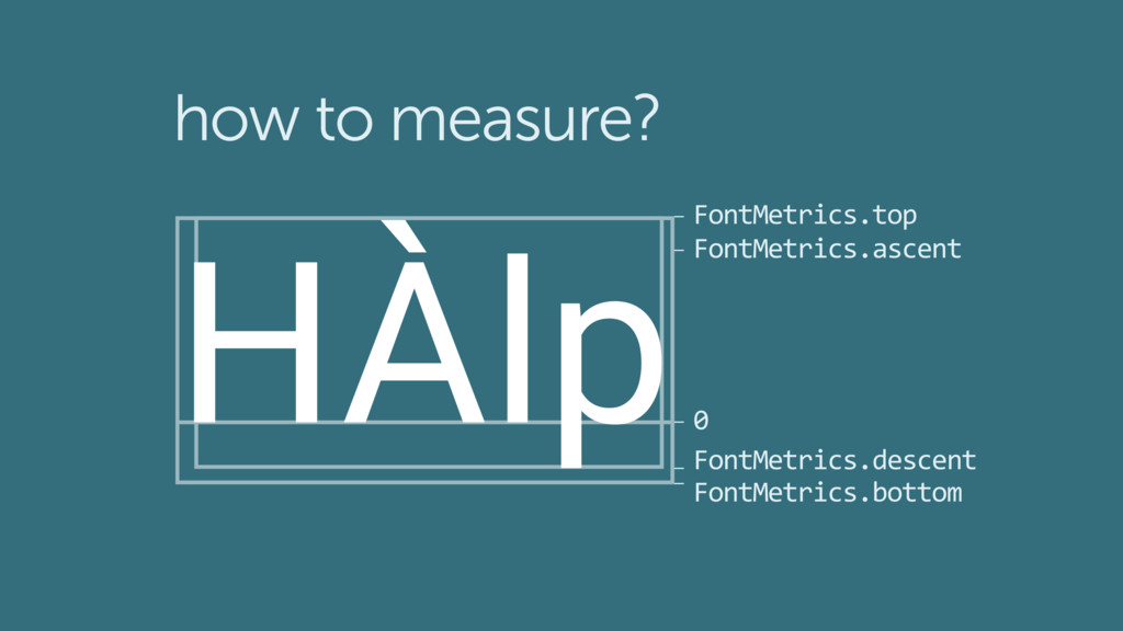 HÀlp how to measure? 0 FontMetrics.ascent FontM...