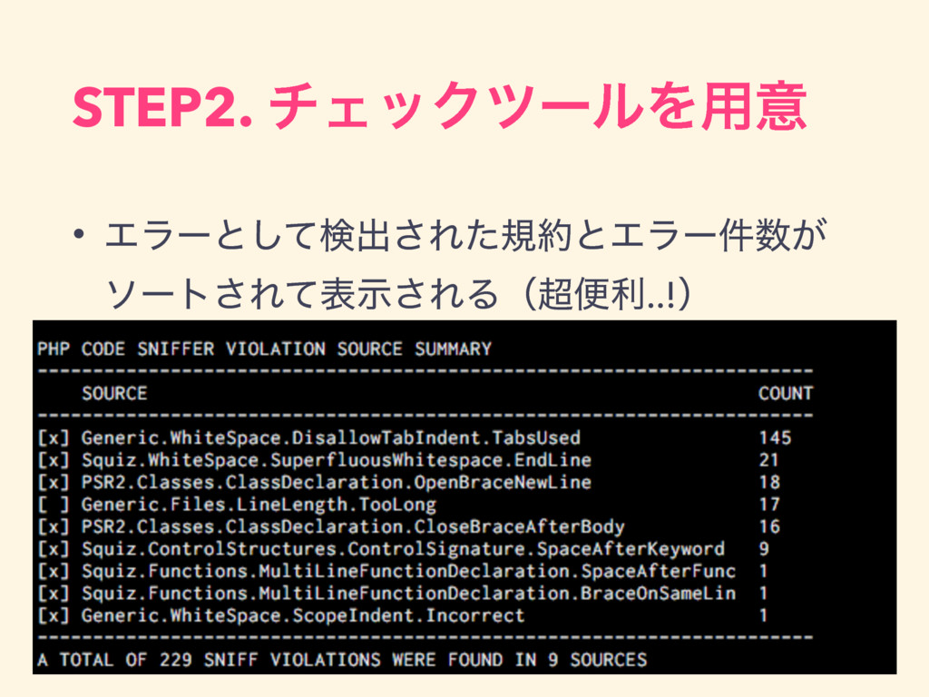 STEP2. νΣοΫπʔϧΛ༻ҙ • Τϥʔͱͯ͠ݕग़͞ΕͨنͱΤϥʔ͕݅ ιʔτ͞Εͯ...