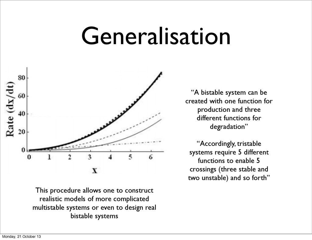 """Generalisation """"A bistable system can be create..."""