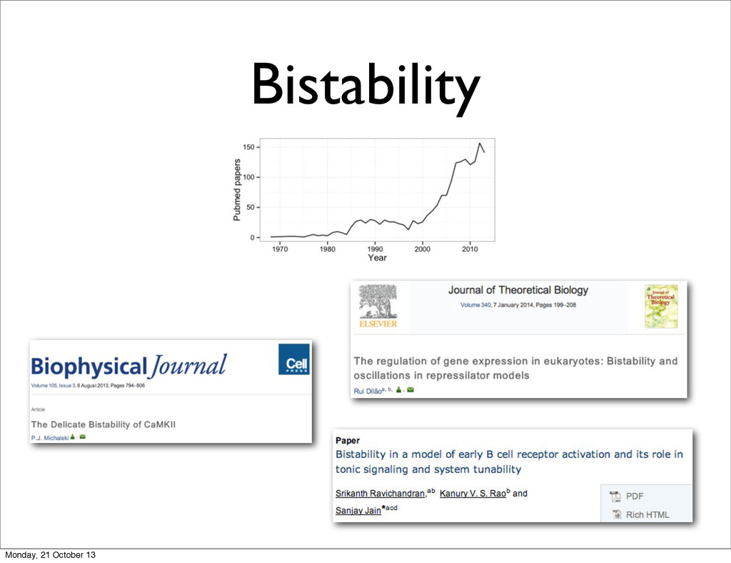 Bistability Monday, 21 October 13