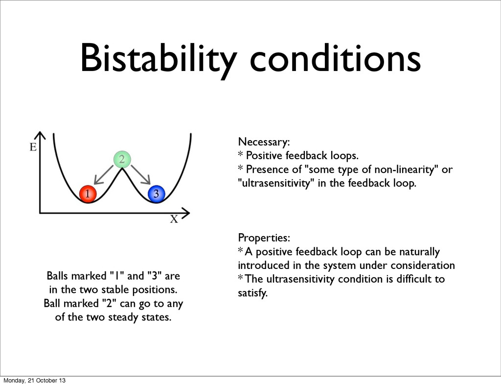 Bistability conditions Necessary: * Positive fe...