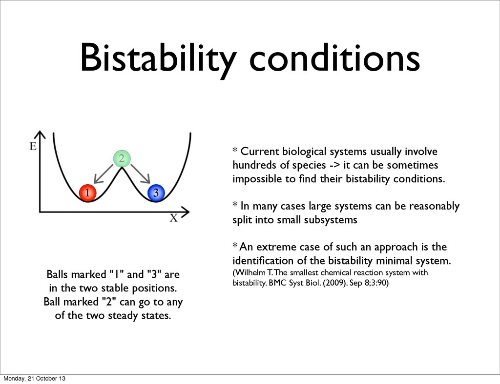 Bistability conditions * Current biological sys...