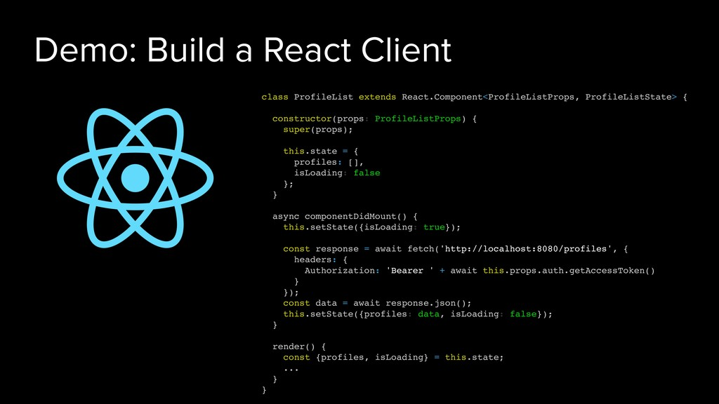 Demo: Build a React Client class ProfileList ex...