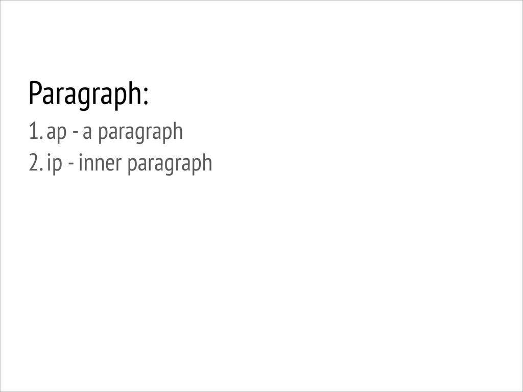 Paragraph: 1. ap - a paragraph 2. ip - inner ...