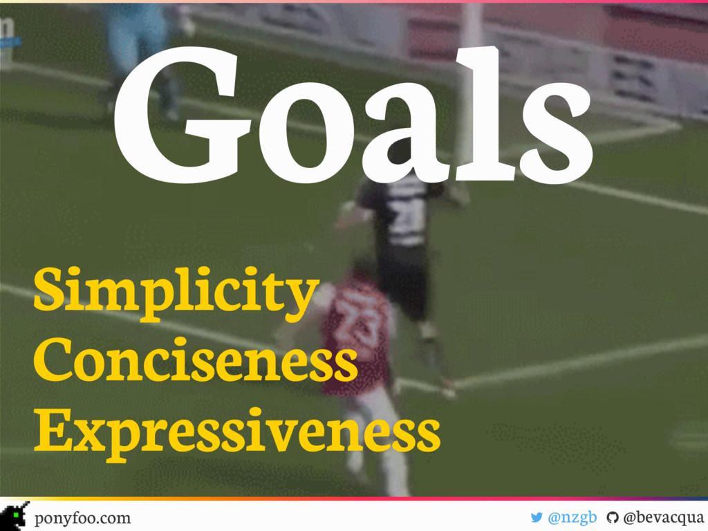 """Goals ! @nzgb """" @bevacqua ponyfoo.com Simplicit..."""