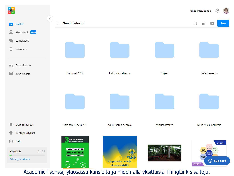 Saimaa-käyttöliittymä on suomenkielinen