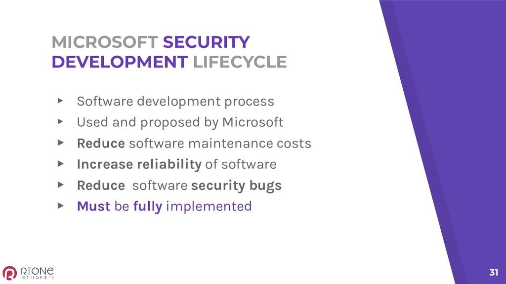 MICROSOFT SECURITY DEVELOPMENT LIFECYCLE ▸ Soft...
