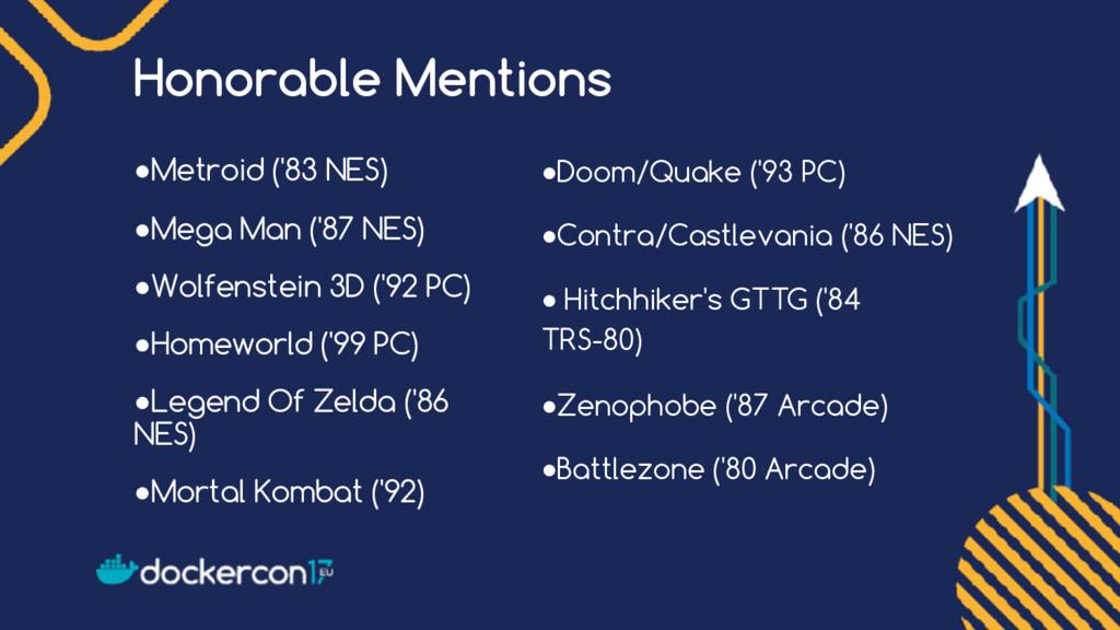 Honorable Mentions ●Metroid ('83 NES) ●Mega Man...