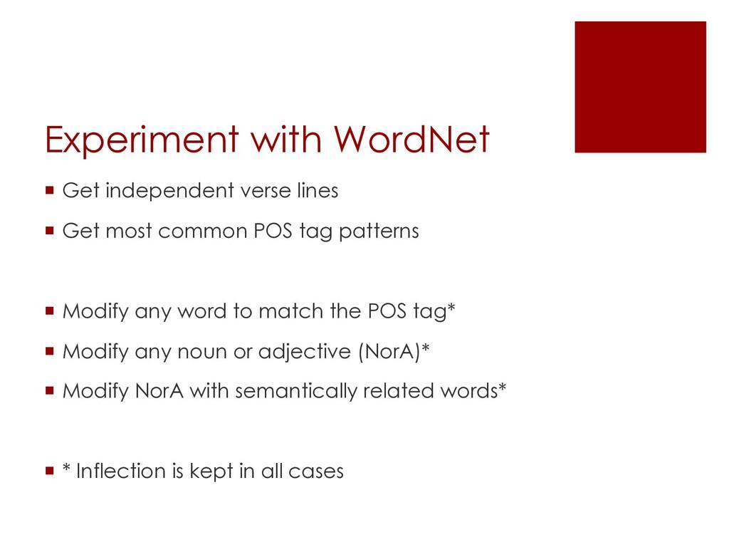 Experiment with WordNet ¡ Get independent verse...