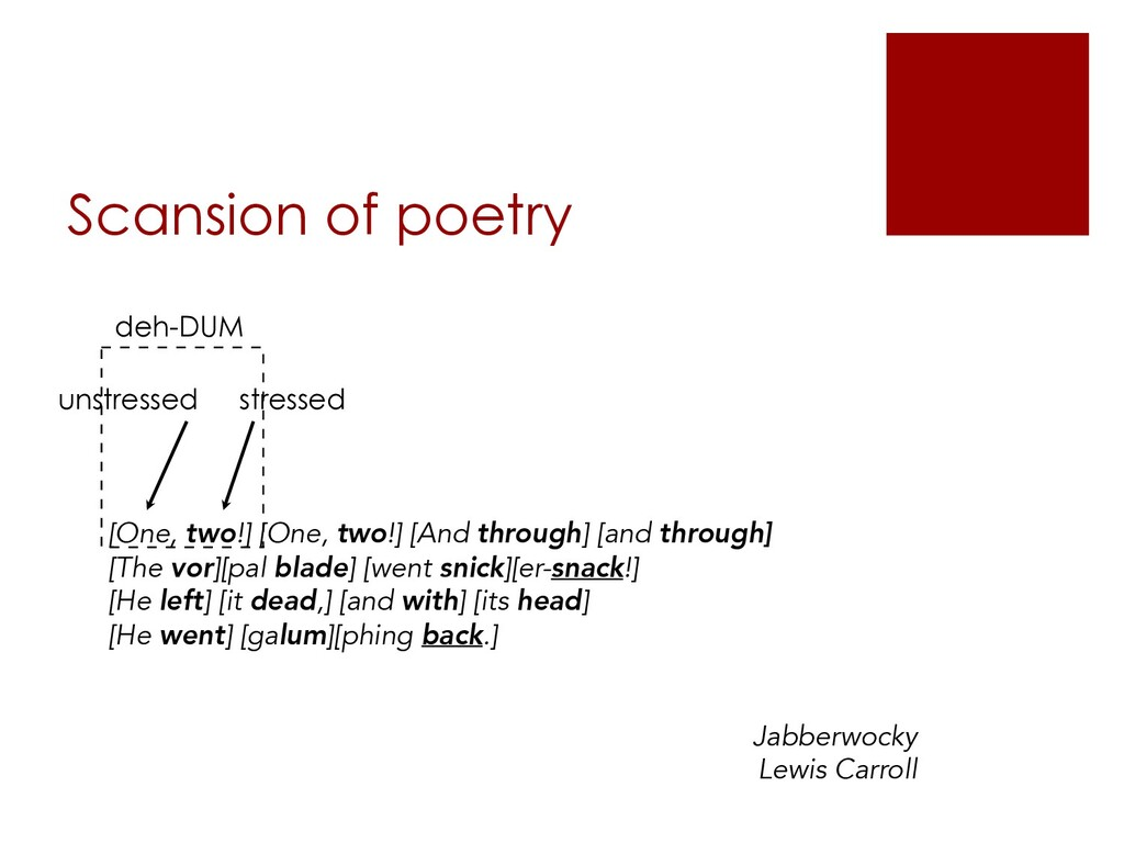 Scansion of poetry [One, two!] [One, two!] [And...