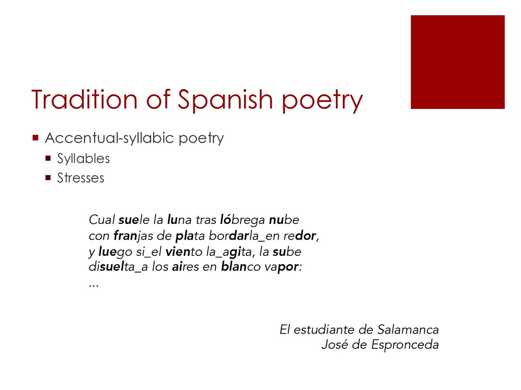 Tradition of Spanish poetry ¡ Accentual-syllabi...