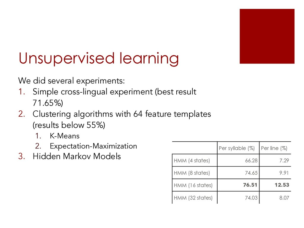 Unsupervised learning We did several experiment...
