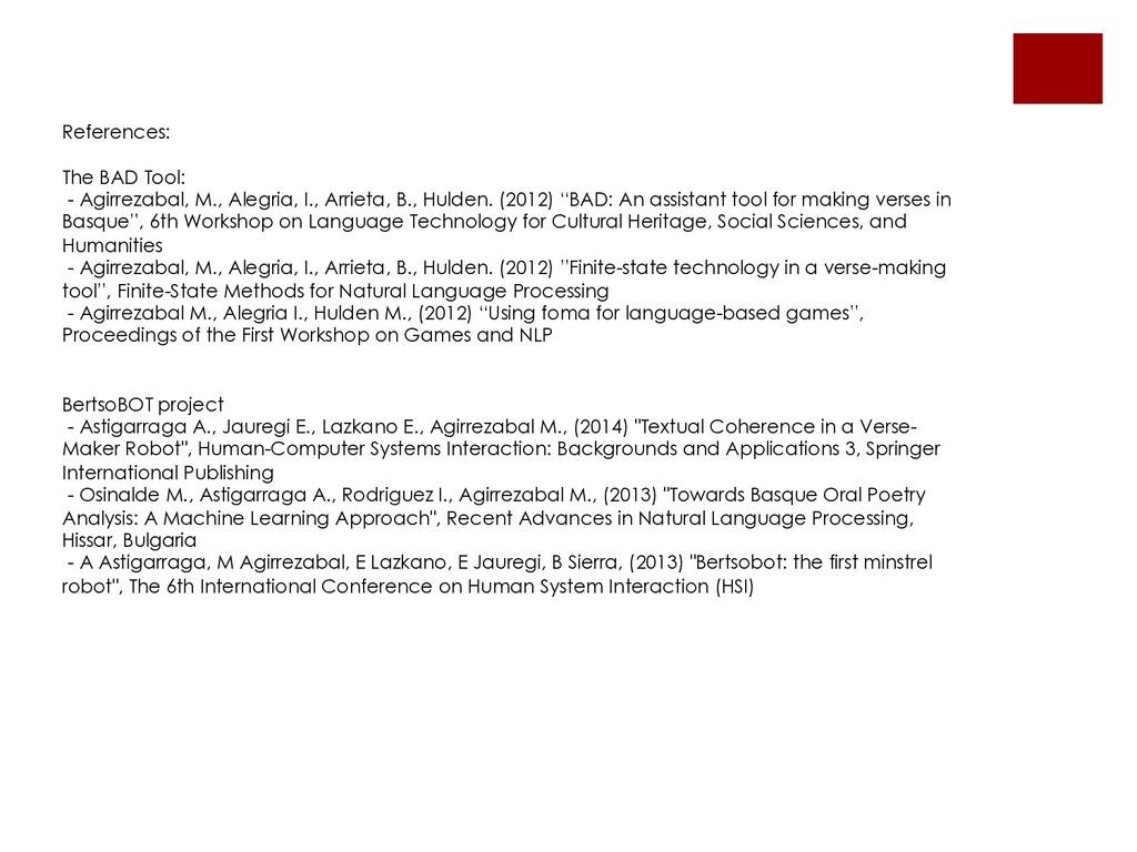 References: The BAD Tool: - Agirrezabal, M., Al...