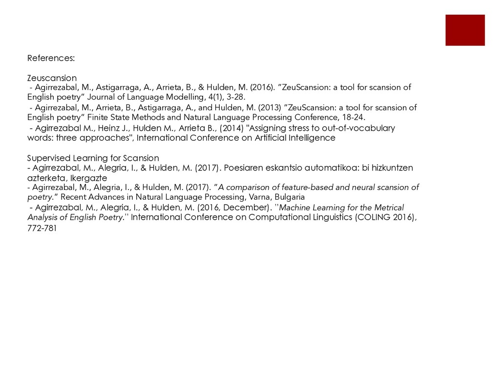 References: Zeuscansion - Agirrezabal, M., Asti...