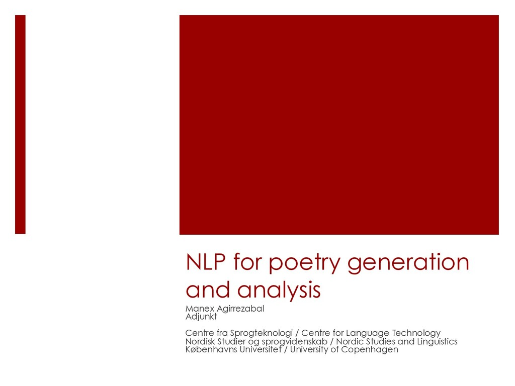 NLP for poetry generation and analysis Manex Ag...
