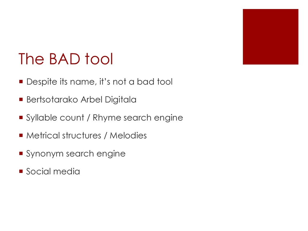 The BAD tool ¡ Despite its name, it's not a bad...