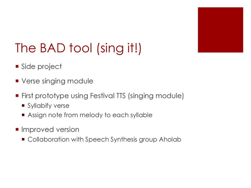The BAD tool (sing it!) ¡ Side project ¡ Verse ...