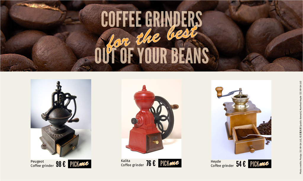 OUT OF YOUR BEANS COFFEE GRINDERS 98 € PICK Peu...