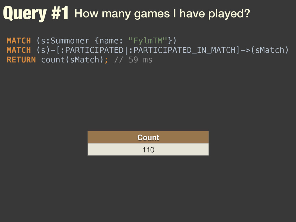 Query #1 How many games I have played? MATCH (s...