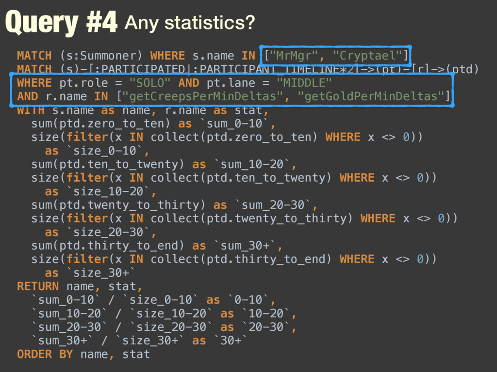 Query #4 Any statistics? MATCH (s:Summoner) WHE...