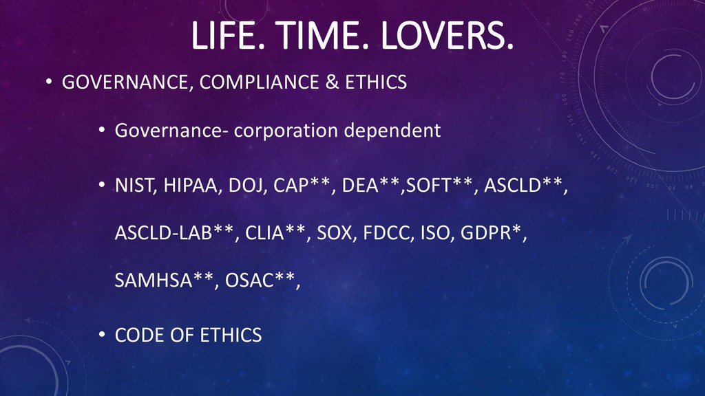 LIFE. TIME. LOVERS. • GOVERNANCE, COMPLIANCE & ...