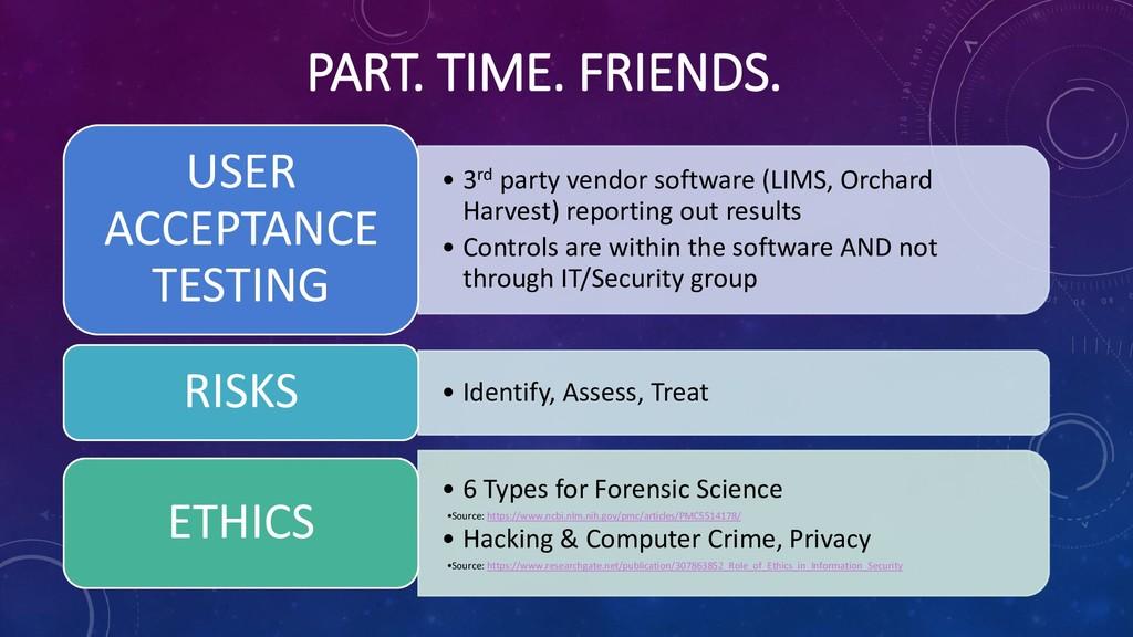 PART. TIME. FRIENDS. • 3rd party vendor softwar...